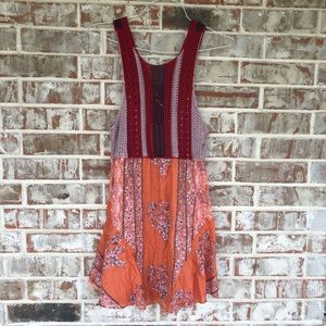 Free People Crochet Knit Rayon Multicolor Dress S